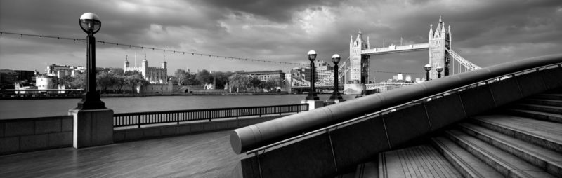 London Bridge panoramic print in b&w