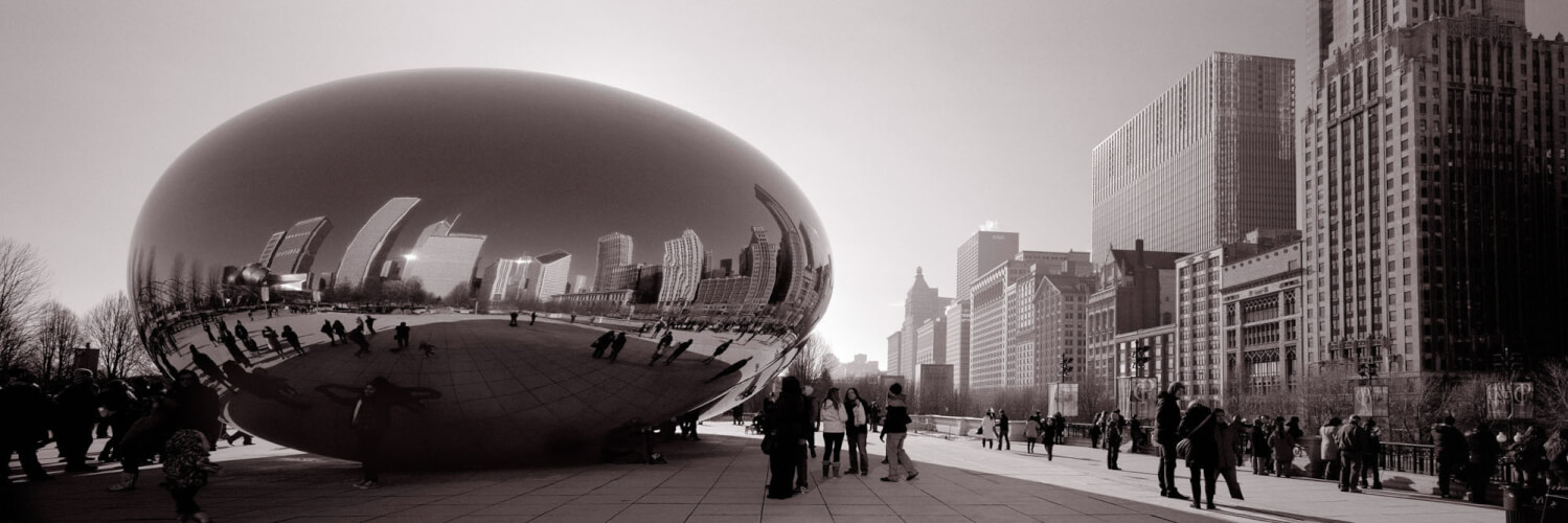 Cloud Gate in chicago and the skyline