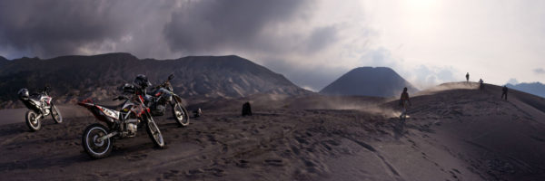 Dune bikes on the slopes of the mount bromo volcano