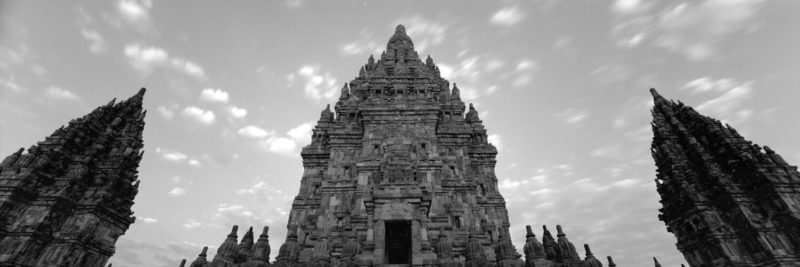 Temple in indonesia black and white