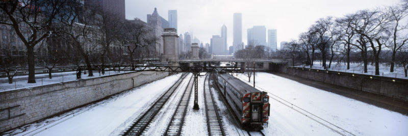 Snow on the train tracks in chicago