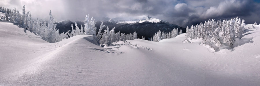 Frozen winter scene on whistler peak with the black tusk