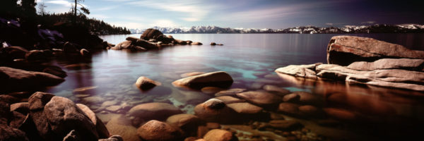 Calm lake tahoe in spring