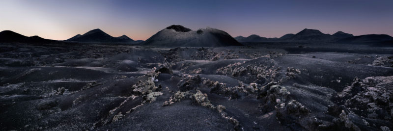 Dark Desolate volcanic landscape