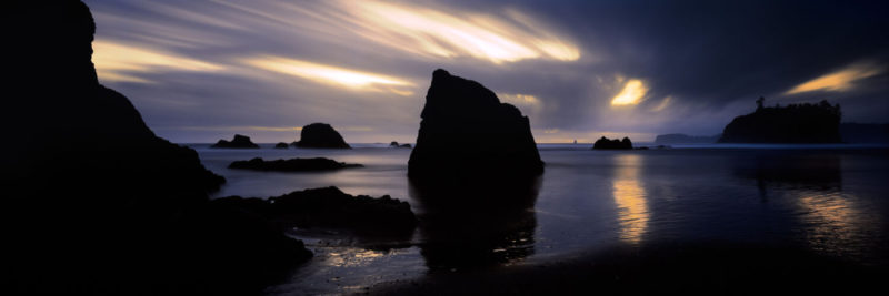 Long exposure sunset on Ruby beach on the Olympic peninsula