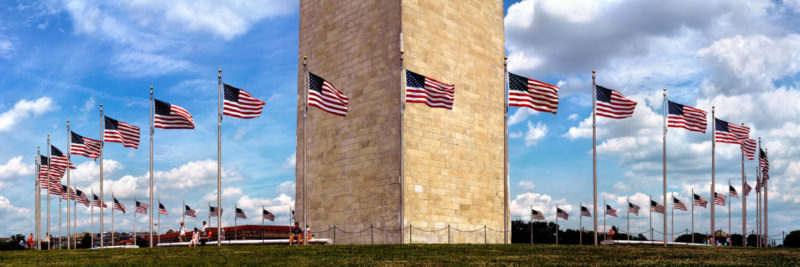Washington DC monument and the American flag