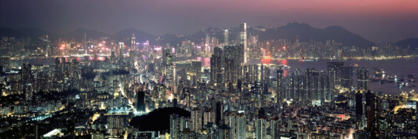 Hong Kong and Kowloon skyline from Beacon hill at night