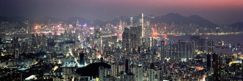 Hong Kong and Kowloon skyline from Beacon hill at night