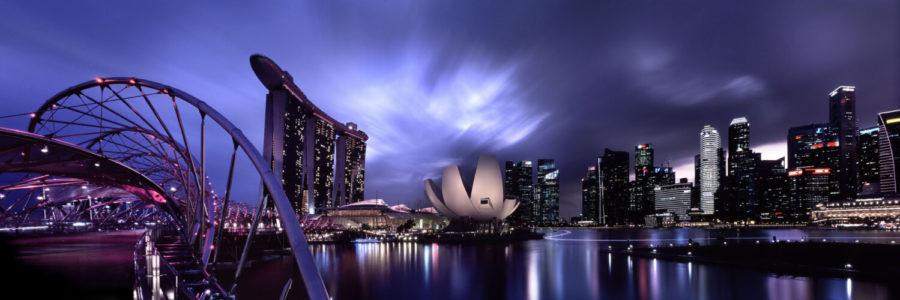 Singapore skyline and the helix bridge at night