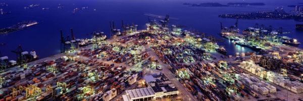 Aerial shot of the Port of singapore at night