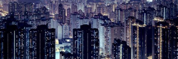 Hong Kong skyscapers at night