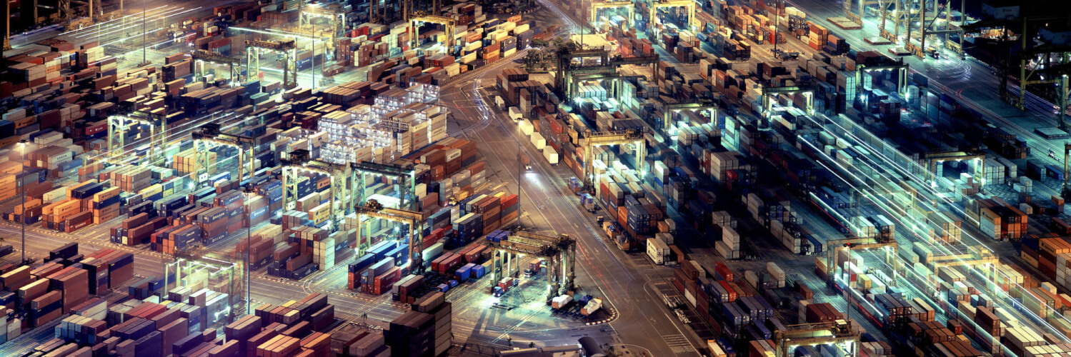 Shipping docks lit up at night