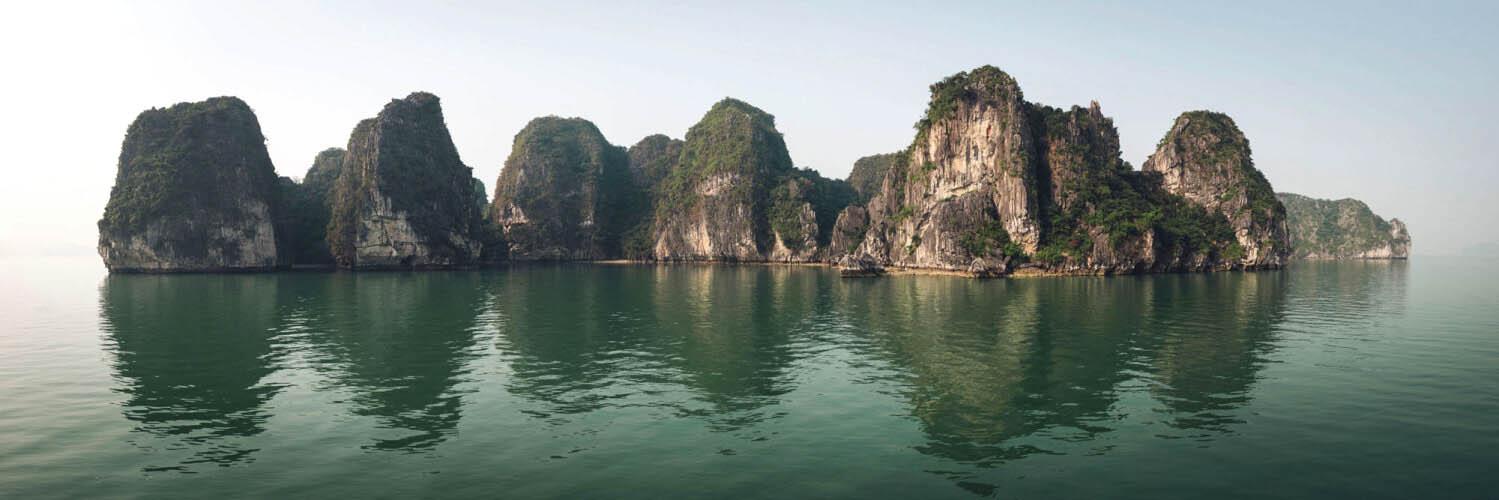 Limestone cliffs in Ha Long bay
