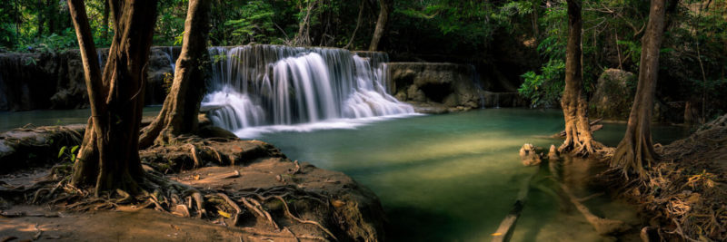 Green waterfall in thailand