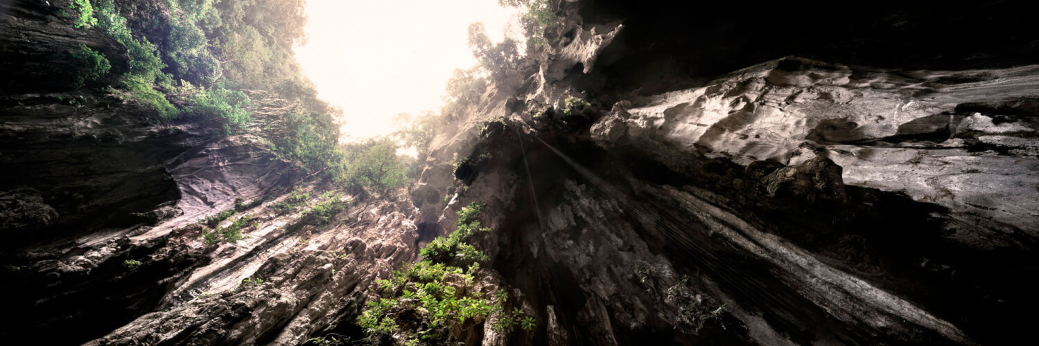 looking up out of batu cave