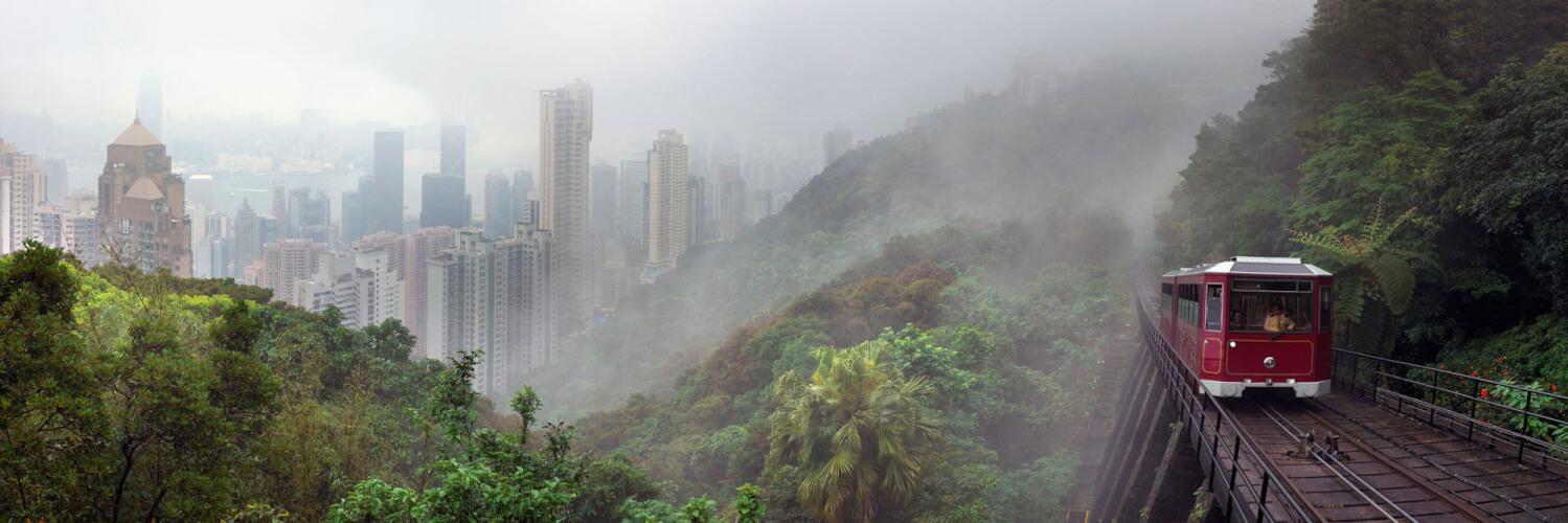peak tram rising through the mist in hong kong