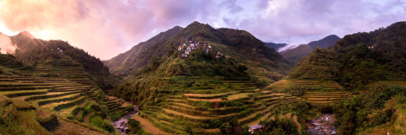 Cambulo rice terraces at sunset in the Philippines