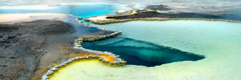 Colorful Volcanic Pool in Yellowstone national park