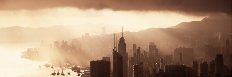 Hong Kong Skyscrapers with Sun rays