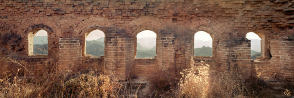 Windows though the ruins of Jonshanling and the great wall of china