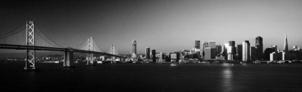 San Francisco and the bay bridge b&W print