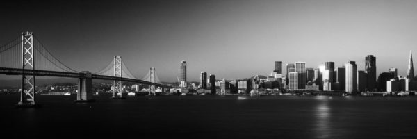 San Francisco and the bay bridge b&W print