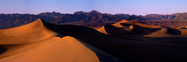 Sand dunes at sunset in death valley