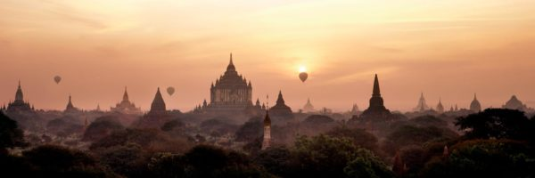 Silhouette of Temples in bagan at surnise in Myanmar