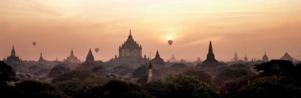 Sunrise over the temples of bagan myanmar