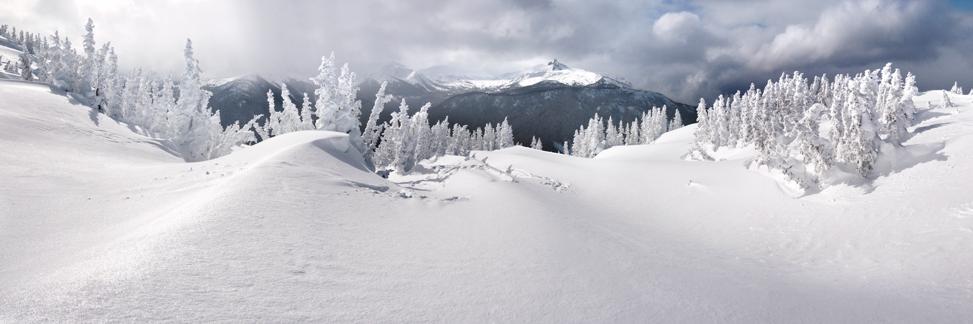 a panoramic print from the peak of whistler mountain