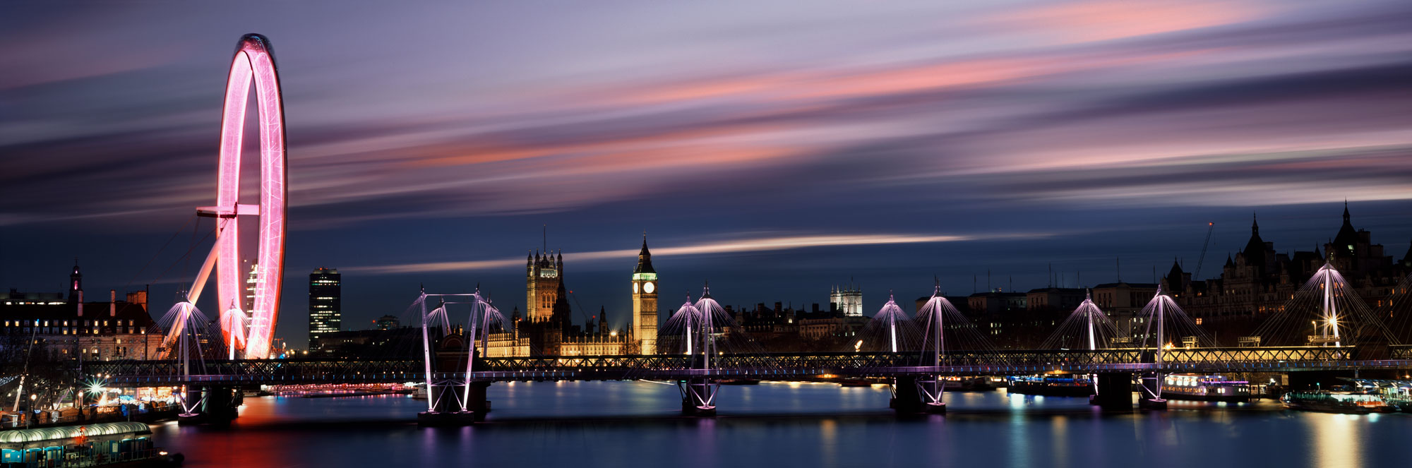 The London Eye and houses of parliament in Westminster