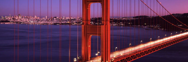 The Golden Gate Bridge with San Francisco City behind at sunset