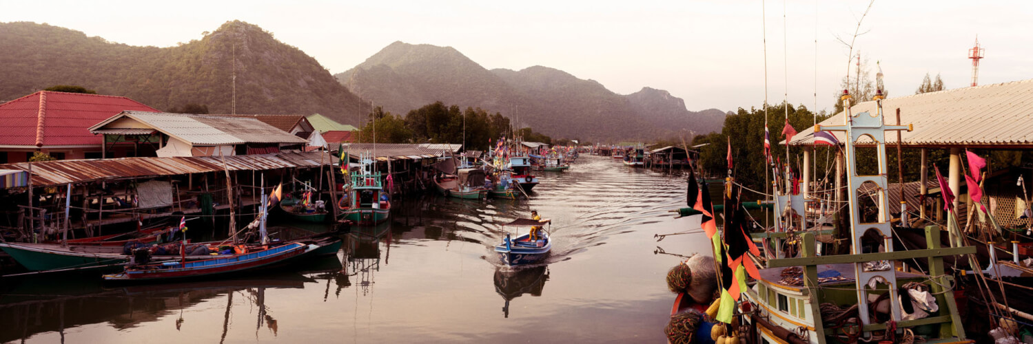 Fishing Village amongst the mountains in thailand