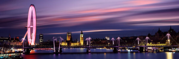 London City Long Exposure sunset with the london eye and houses of parliement