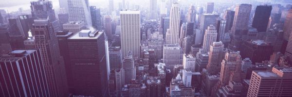 looking down at new york city from the Rockefeller Centre