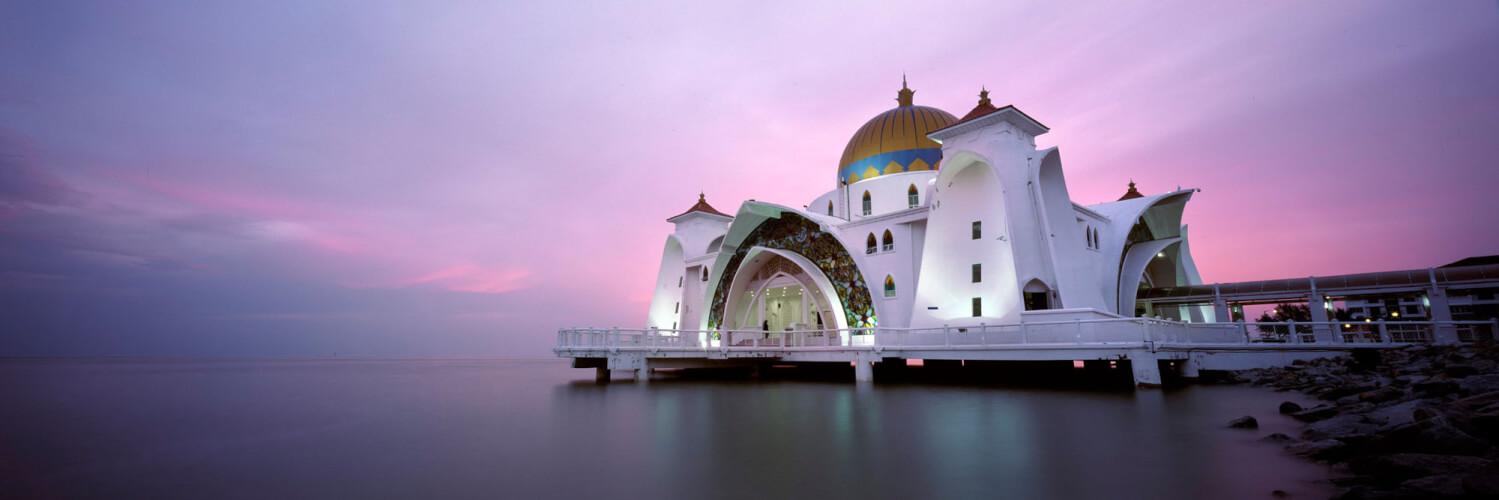 Malacca Straits Mosque Sunset