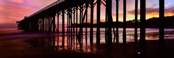 Stunning sunset behind San Simeon Pier