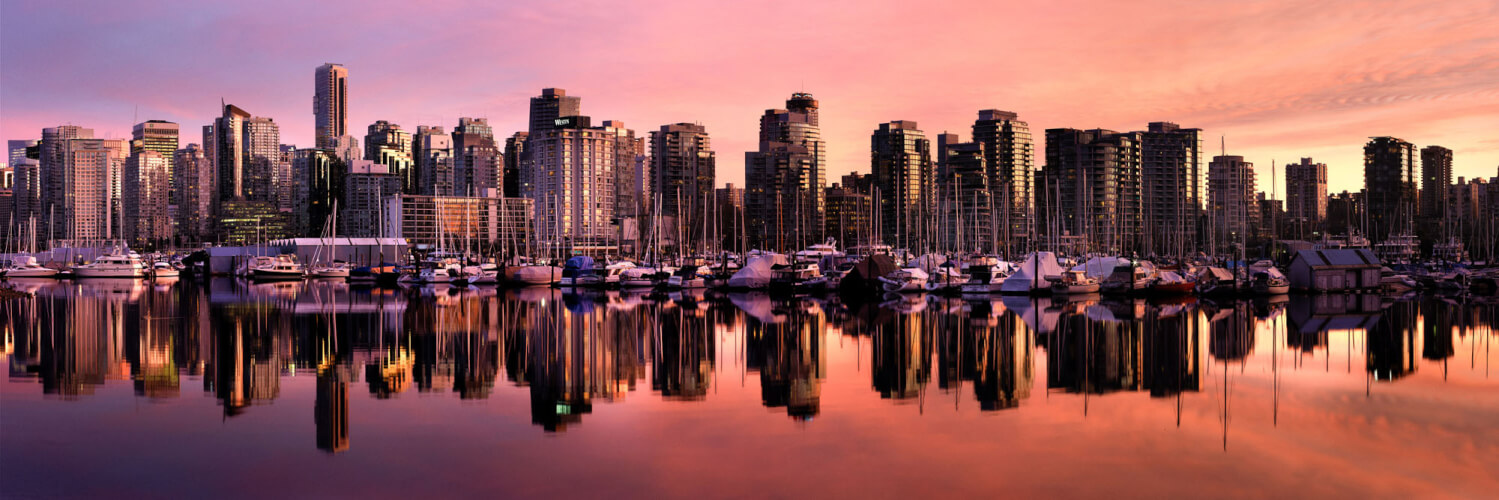 Vancouver Skyline at sunset from starley park