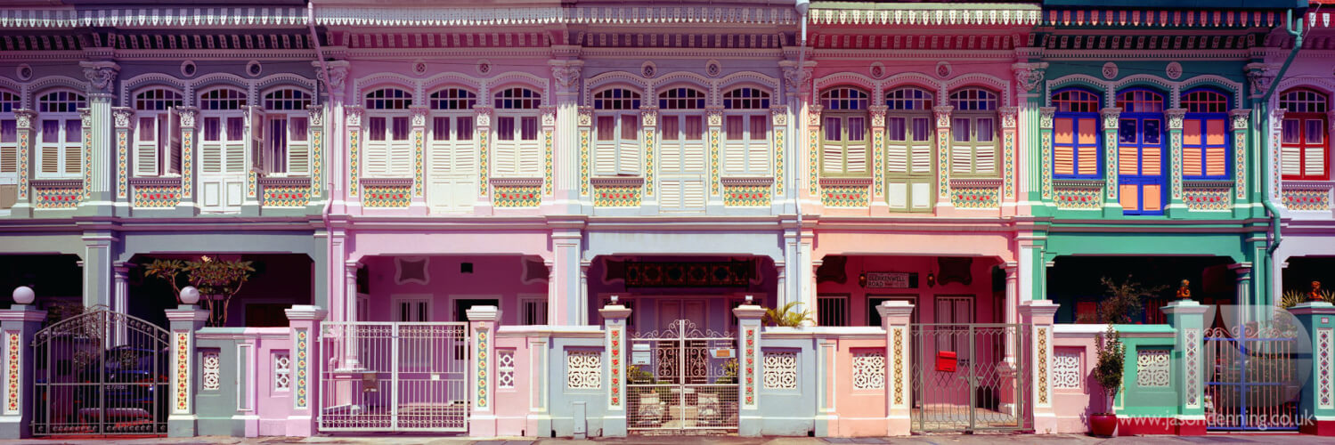 Colorful shophouses on koon sent road in singapore