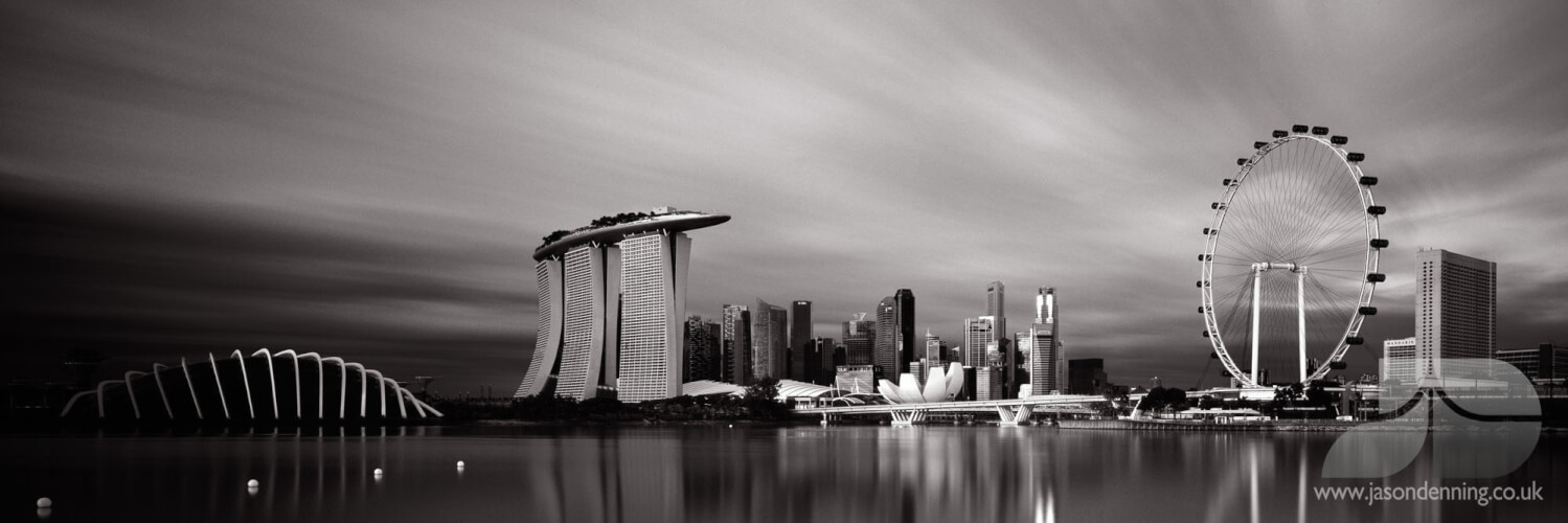 Singapore skyline in black and white