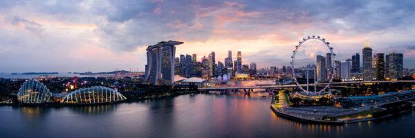 Aerial panoramic of the Singapore Skyline at sunset