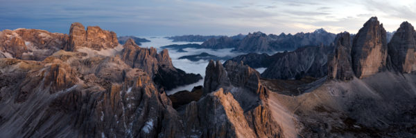 An aerial of the peaks of the Italian Dolomites