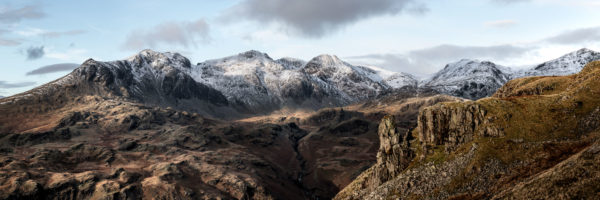 Panorama of the Eskdale needle and scafell pike in the lake district