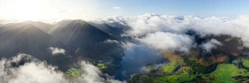 Aerial above the clouds in the Lake District