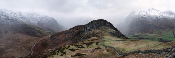Side pike and the Langdale pikes in the Lake District in winter