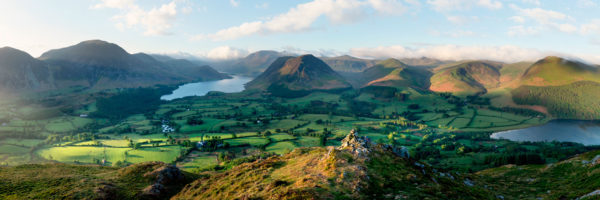 View of butternmere water, crummock water and Loweswater valley in the Lake District National Park