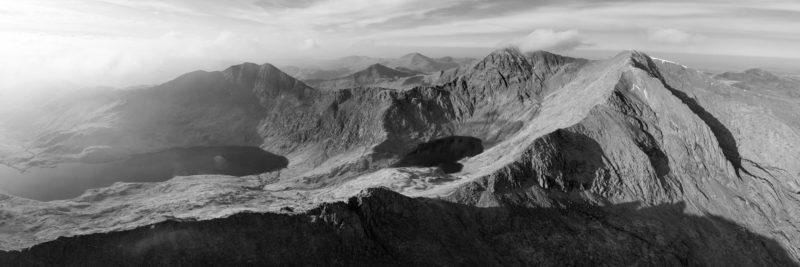 Black and white print of mount snowdon