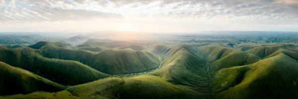 panoramic aerial photo of green Yorkshire Dales hills