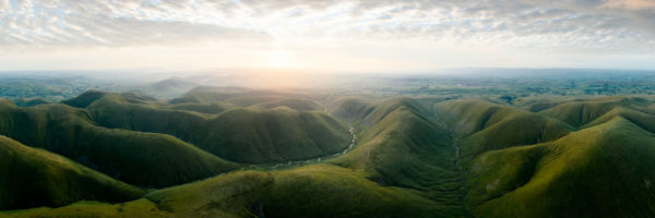 A panoramic aerial print of Howgill fells and the calf in cumbria