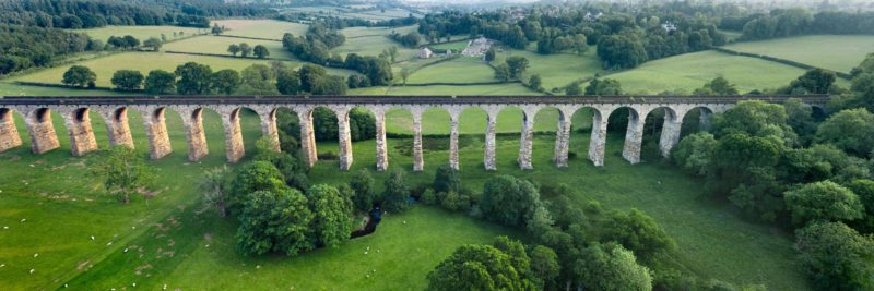 Aerialpanoramic prints a train viaduct